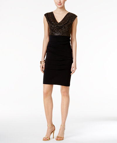 Connected Sequined Metallic Cowl-Neck Sheath Dress
