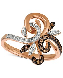 Le Vian Chocolatier® Diamond Fleur-de-lis Inspired Ring (1/4 ct. t.w.) in 14k Rose Gold