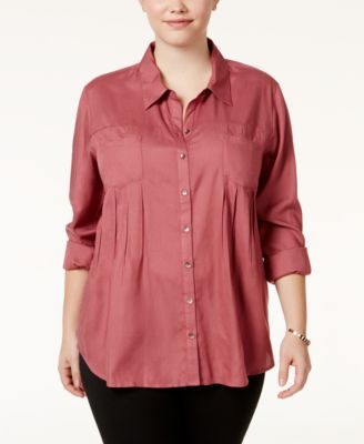 Style & Co Plus Size Roll-Tab Shirt, Only at Macy's