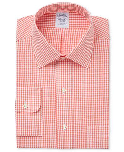 Brooks Brothers Men's Regent Classic/Regular Fit Non-Iron Orange Checked Dress Shirt