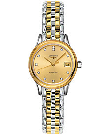 Longines Women's Swiss Automatic Flagship Diamond Accent Two-Tone PVD Stainless Steel Bracelet Watch 26mm L42743377