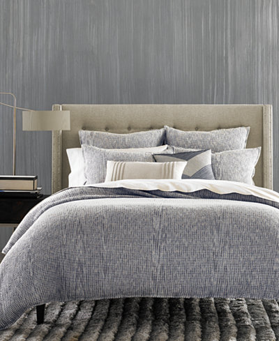 CLOSEOUT! Hotel Collection Waffle Weave Chambray King Duvet Cover, Created for Macy's