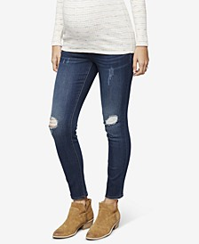Denim Maternity Dark-Wash Distressed Skinny Jeans