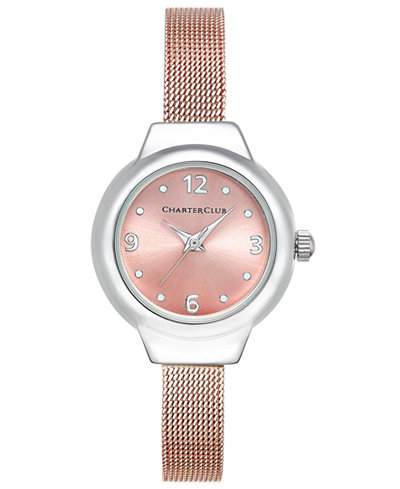 Charter Club Rose Gold-Tone Mesh Bracelet Watch 25mm, Only at Macy's