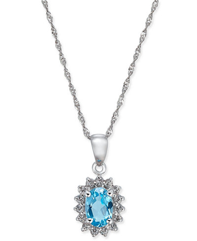 Blue Topaz (1 ct. t.w.) and White Topaz (1/6 ct. t.w.) Pendant Necklace in 10k White Gold