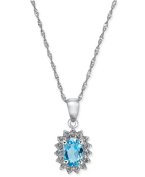 Macy's Blue Topaz (1 ct. t.w.) and White Topaz (1/6 ct. t.w.) Pendant Necklace in 10k White Gold