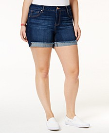 Plus Size  Frayed High-Waisted Denim Shorts