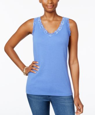 Image of Karen Scott Lace-Trim Tank Top, Only at Macy's