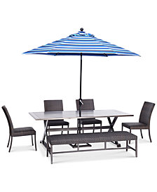 "CLOSEOUT! Savannah Outdoor 6-Pc. Dining Set (84"" x 42"" Rectangle Dining Table, 4 Armless Dining Chairs & 1 Bench), Created for Macy's"