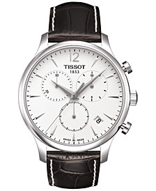 Tissot Men's Swiss Chronograph T-Classic Tradition Brown Leather Strap Watch 42mm T0636171603700