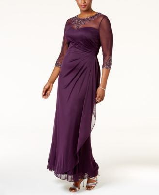 Xscape Plus Size Embellished Illusion Ruched Gown