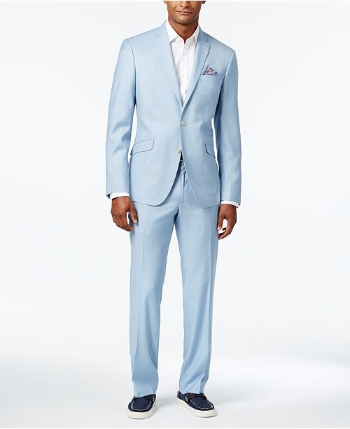 Kenneth Cole Reaction Men\'s Slim-Fit Icy Blue Micro-Grid Suit ...