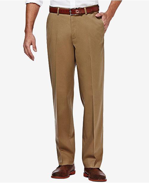 f9ee7ad9 ... Haggar Men's Premium No Iron Khaki Classic Fit Flat Front Hidden Expandable  Waist Pant ...