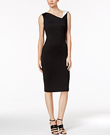 Calvin Klein Contrast-Collar Sheath Dress in Regular & Petite Sizes