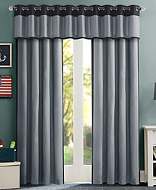 Mi Zone Liam Colorblocked Foam Back Room Darkening Window Panel and Valance Collection, Energy-Saving