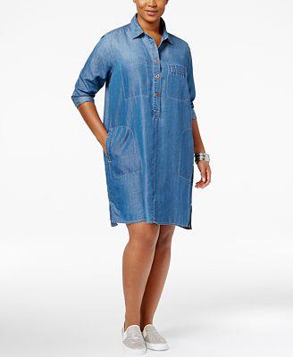 Jessica Simpson Trendy Plus Size Denim Shirtdress Dresses Plus