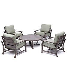 "Tara Aluminum Outdoor 5-Pc. Seating Set (48"" Round Table & 4 Rocker Chairs), with Sunbrella® Cushions, Created for Macy's"