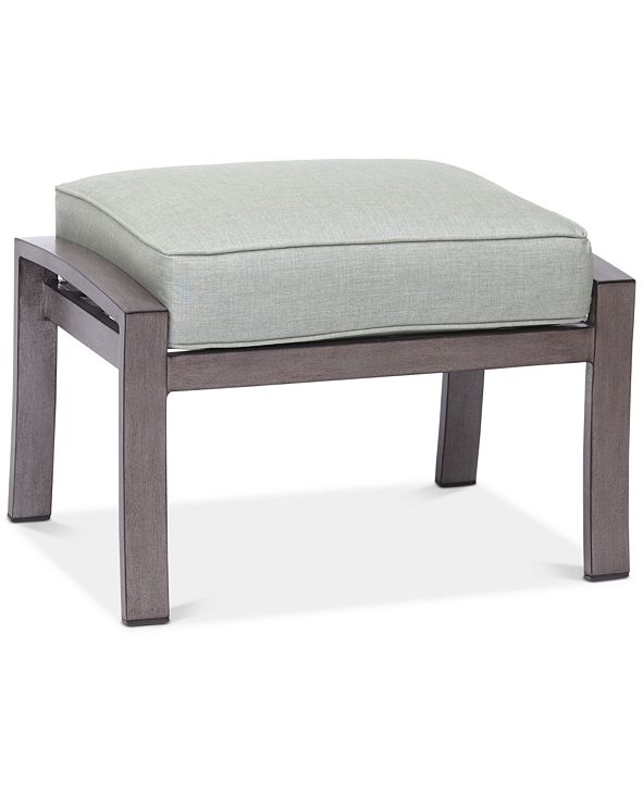 Furniture Tara Aluminum Outdoor Ottoman, with Sunbrella® Cushion, Created for Macy's