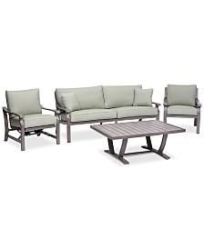 Tara Aluminum Outdoor 4-Pc. Seating Set (1 Sofa, 1 Club Chair, 1 Rocker Chair & 1 Coffee Table), Created for Macy's
