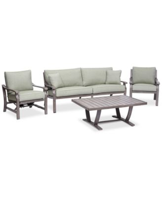 tara aluminum outdoor 4pc seating set 1 sofa 1 club chair 1 inside rocker chair u0026 1 coffee table created for macyu0027s