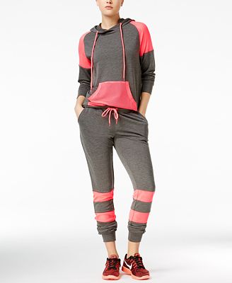 Material Girl Active Juniors' Mesh-Inset Hoodie & Sweatpants, Only at Macy's