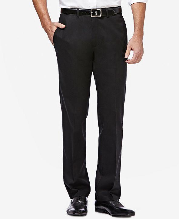 Haggar Men's Premium No Iron Khaki Straight-Fit Stretch Flat-Front Pants