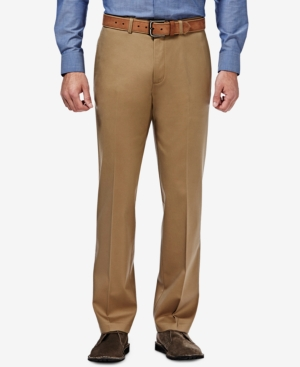 Men's Premium No Iron Khaki Straight-Fit Stretch Flat-Front Pants
