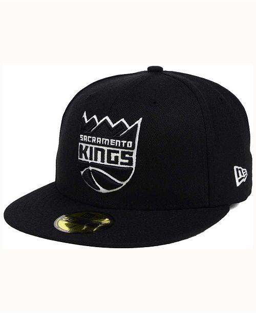 brand new 8dc62 a2ced ... New Era Sacramento Kings Black White 59FIFTY Cap ...