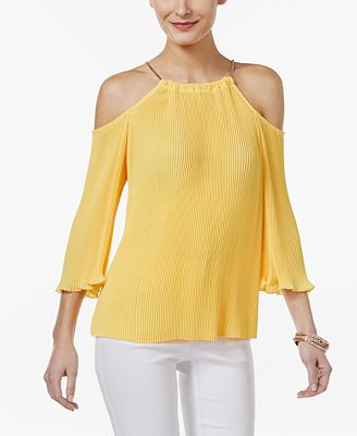 Thalia Sodi Pleated Cold-Shoulder Top, Only at Macy's