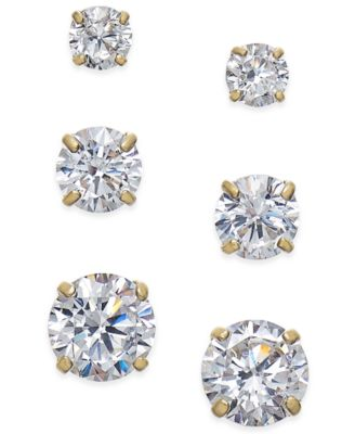 Image of Cubic Zirconia 3-Pc. Set Graduated Stud Earrings in 14k Gold or 14k White Gold