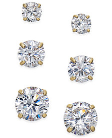 Cubic Zirconia 3 Pc Set Graduated Stud Earrings In 14k Gold Or White