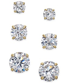 Cubic Zirconia 3-Pc. Set Graduated Stud Earrings in 14k Gold or 14k White Gold
