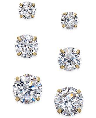 Macy S Cubic Zirconia 3 Pc Set Graduated Stud Earrings In 14k Gold