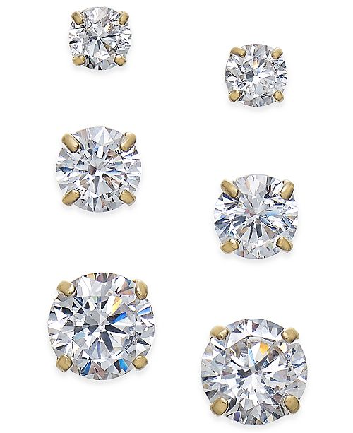 ... Macy s Cubic Zirconia 3-Pc. Set Graduated Stud Earrings in 14k Gold or  14k ... 54ed04c0b8