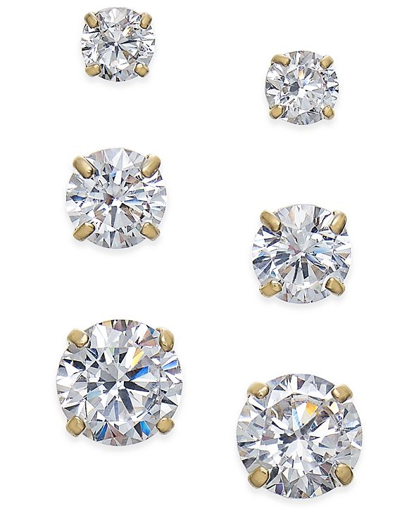 Macy's Cubic Zirconia 3-Pc. Set Graduated Stud Earrings in 14k Gold or 14k White Gold