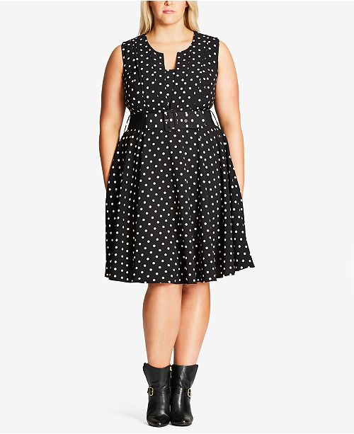Plus Size Trendy Polka-Dot Fit & Flare Dress