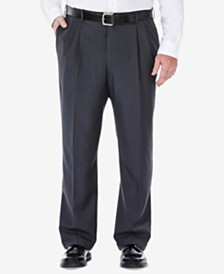Haggar Men's Big & Tall Eclo Stria Classic-Fit Pleated Hidden Expandable Waistband Dress Pants