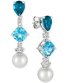 Blue Topaz (3-9/10 ct. t.w.), White Cultured Freshwater Pearl (9mm) and Diamond (1/3 ct. t.w.) Drop Earrings in 14k White Gold
