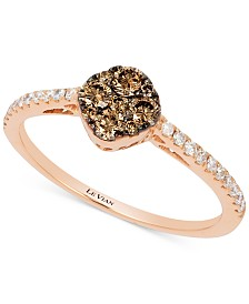 Le Vian Chocolatier® Diamond Cluster Ring (3/8 ct. t.w.) in 14k Rose Gold