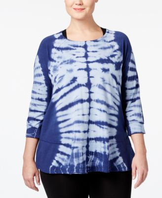 Calvin Klein Performance Plus Size Mirror Tie-Dyed Top