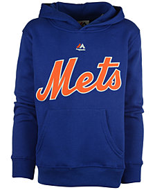 Majestic  New York Mets Wordmark Fleece Hoodie, Big Boys (8-20)