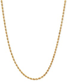 "30"" Polished Diamond-Cut Rope Chain Necklace (1-3/4mm) in 14k Gold"