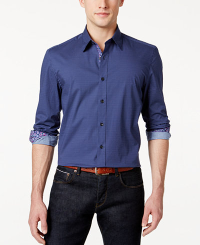 Con.Struct Men's Artisan Stretch Pin Dot Shirt, Created for Macy's