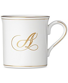 Federal Gold Monogram Mug, Script Letters