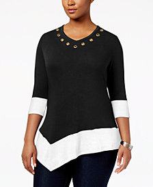 Belldini Plus Size Asymmetrical Colorblocked Top