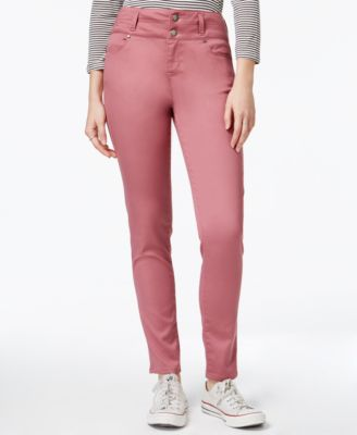 Image of Tinseltown Juniors' 2-Button High-Waist Colored Skinny Jeans