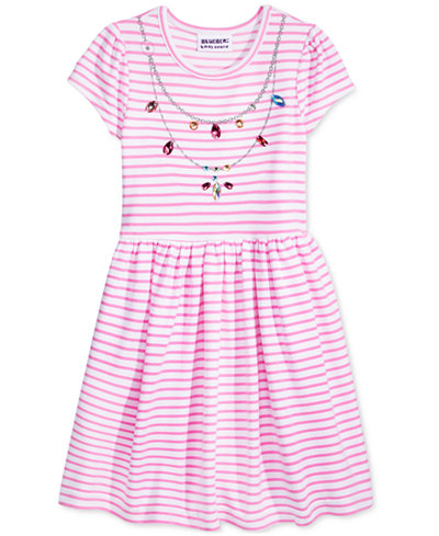 Blueberi Boulevard Embellished Necklace Print Striped Dress, Toddler & Little Girls (2T-6X)