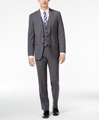 Calvin Klein Men's Modern-Fit Gray and Blue Plaid Windowpane Vested Suit