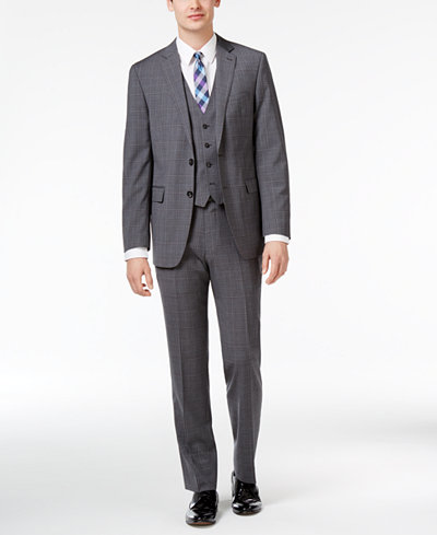 Calvin Klein Men's Big & Tall Slim-Fit Gray/Blue Windowpane Plaid Vested Suit