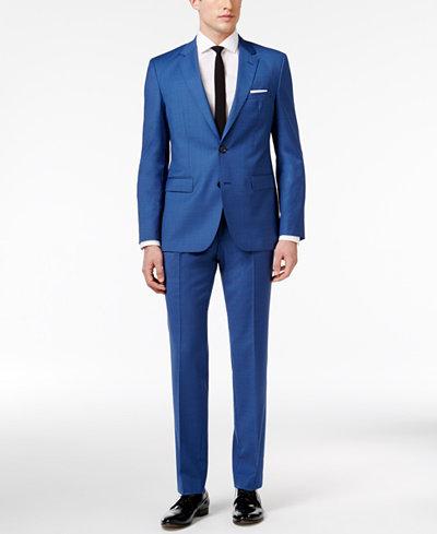 HUGO Men's Slim-Fit Blue Mini-Check Suit - Suits & Suit Separates ...